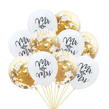 10 PCs 12 inch Latex Balloons Mr & Mrs Letter Printing Confetti Glitter Ballons Shiny Wedding Party Engagement Decorations