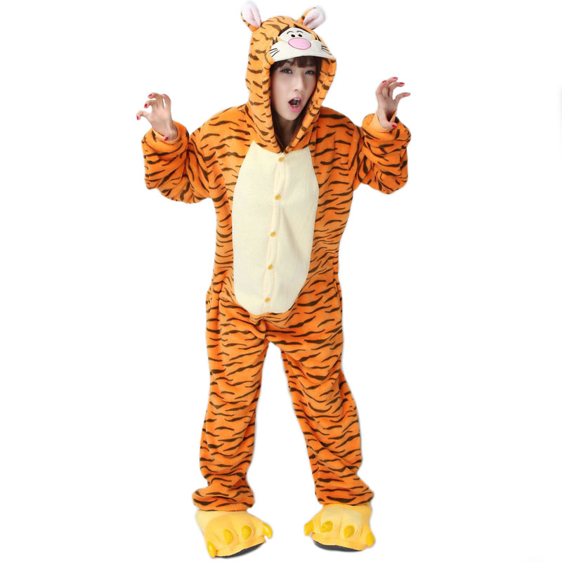 2018 Hot Brand Clothing Cute Tigger Unisex Adults Casual Flannel Hooded Pajamas Cartoon Animal Onesies Sleepwear For Wnter Women