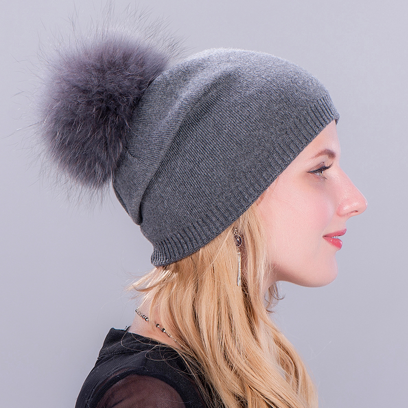 Fur Pompom Hat Autumn Winter Women   Skullies     Beanies   Elasticity Knitted   Beanie   Soild Casual Casquette Bonnet Gorro Invierno Mujer