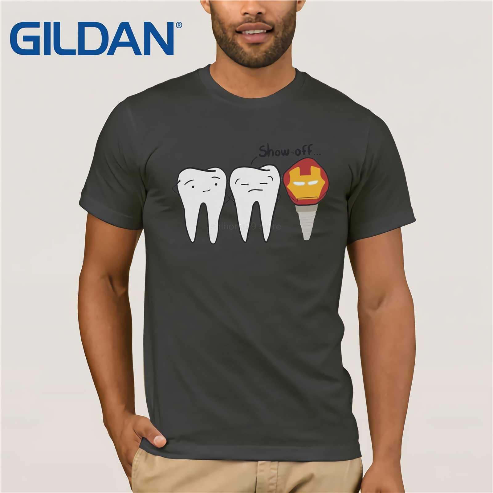 גברים של שחצן שן חולצות שיניים שתל רופא שיניים רפואת שיניים Tees עגול צוואר קצר שרוול חולצות 100% כותנה חולצה בתוספת גודל