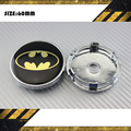 4x BAT BLACK YELLOW MAN LOGO 60mm wheel center caps hub cover chrome car badges ABS for VW Golf POLO Focus Cruze #SO324