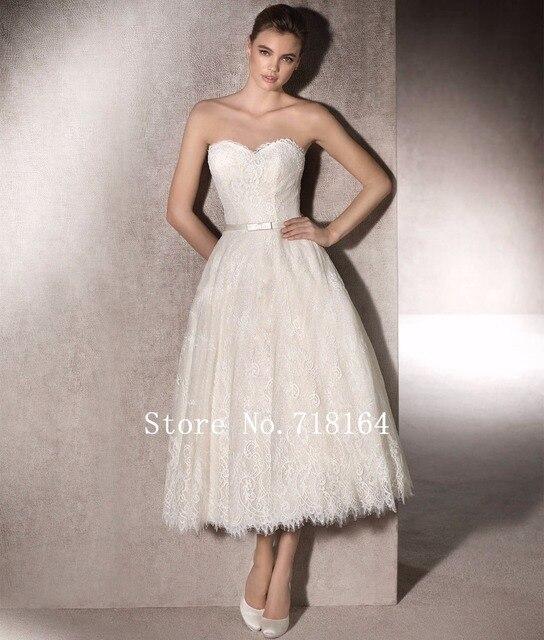 País rústico encaje cortos vestidos de boda recepción nupcial ...
