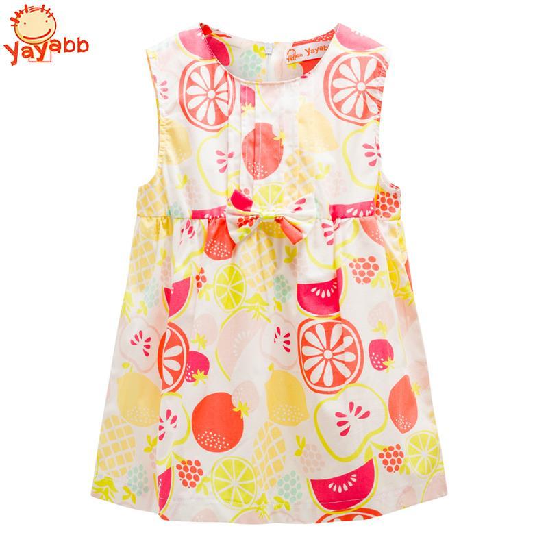 2018 New Summer Brand Baby Girls Dresses Cotton Sleeveless Baby Dress Casual Newborn Princess Clothing Bow Infant Costume