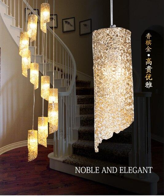 US $270.0 |Doppia scalinata lampada rotante lampada lampade a Sospensione  albergo soggiorno moderno e minimalista in alluminio Luci ristorante ...