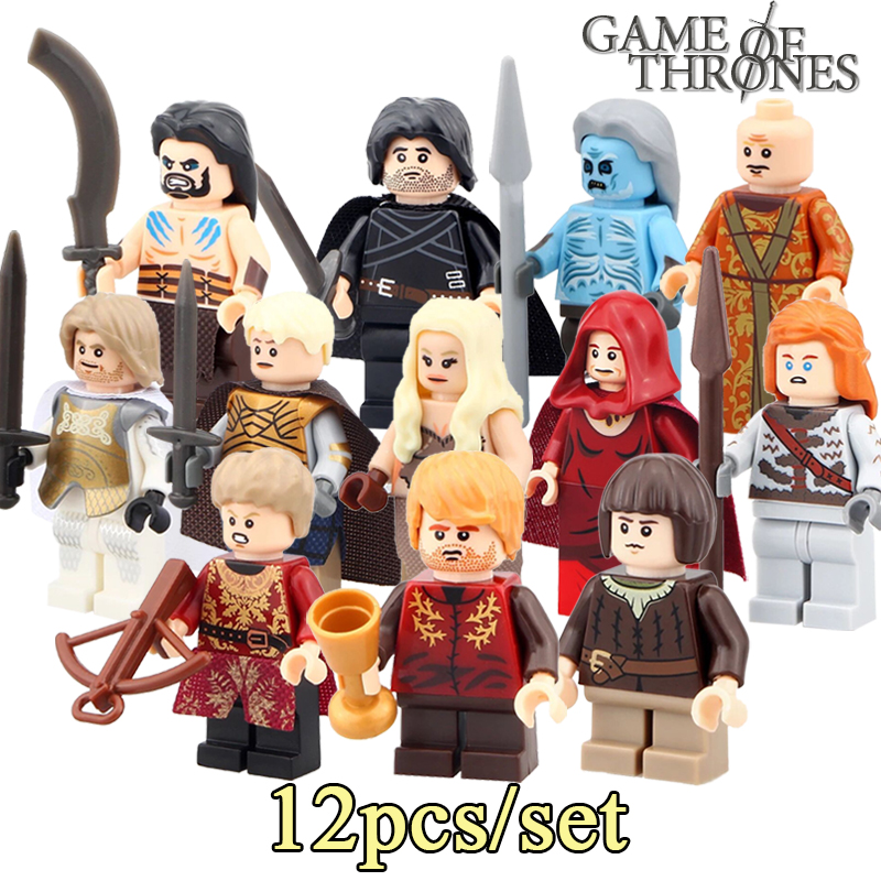 12pcs/lot Game of Thrones diy figures Jon Snow Daenerys Lord Varys White Walker Ice and Fire Series Building Blocks Kids Toys zildjian 14 kerope hi hats