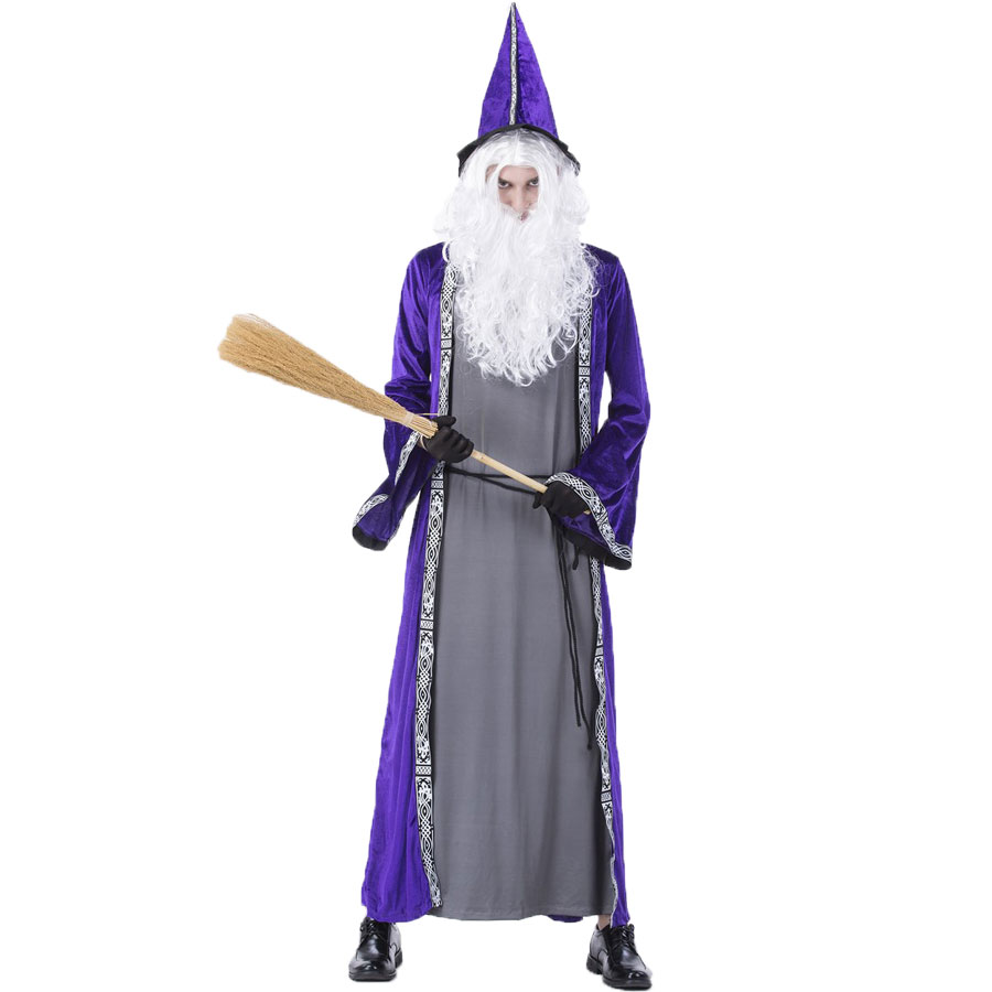 Umorden Purim Carnival Party Halloween Wizard Costume Cosplay Magician Costumes Robe Gown for Men Adult