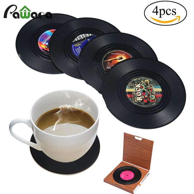<font><b>6</b></font>/4Pcs Retro Vinyl CD Record <font><b>Drinks</b></font> <font><b>Coasters</b></font> <font><b>set</b></font> Home Table <font><b>Cup</b></font> Mat Creative Coffee <font><b>Drink</b></font> Placemat Tableware Spinning Funny gift