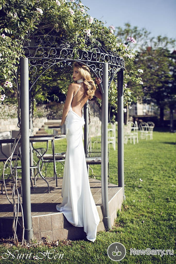 Fashion Nurit Hen With Beaded Halter Mermaid Wedding Dress Open Back See Through Chiffon Long Bridal Gowns Strapless C0105