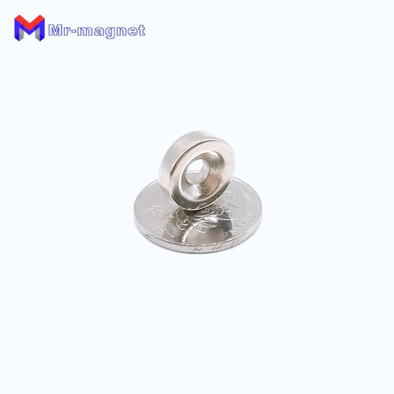Купить с кэшбэком high quality 50pcs D15mmx5mm Hole dia 5mm cheap strong hole neodymium magnets with nickle coating 15x5-5 magnet