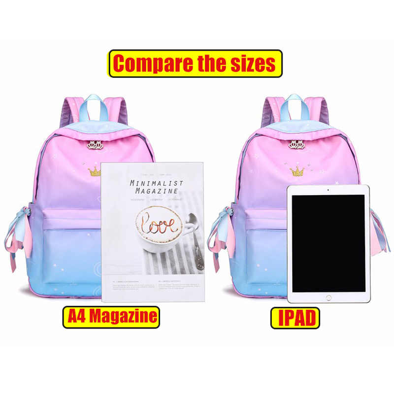 Fashion School Backpack Girls School Bags Pink Schoolbags Children Book Bag Printing Lightweight Backpack Female Sac A Do