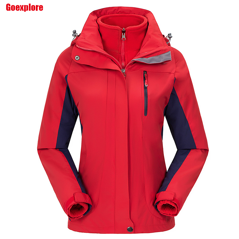 Dropshipping new thicken coat women Camping hiking ski sports slim mountain waterproof double layer 3 in