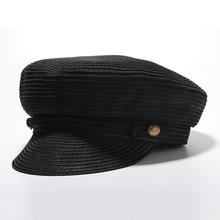 Women Summer Fisherman Cap Newsboy Straw Hat Beret Sun Hat Fiddler Flat Top Hat