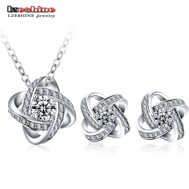 LZESHINE New Silver Color Flower Jewelry Sets For Women with AAA Cubic Zircon Fa