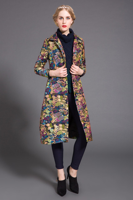 Плюс размер 4XL 5XL Пальто 2016 Весна пальто Женщин Траншеи длиной дизайн одежды печати pleuche траншеи женская Верхняя Одежда пальто