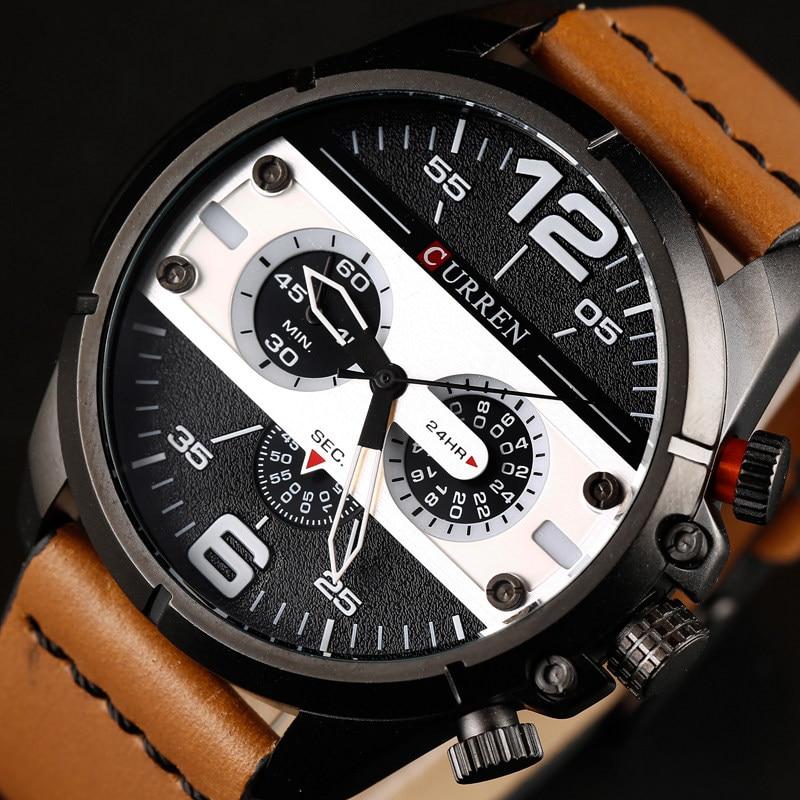 2018 Curren Männer Uhren Luxus Marke Mens Fashion Sport Quarzuhr Männliche Leder Wasserdichte Analog Armbanduhr Relogio Masculino