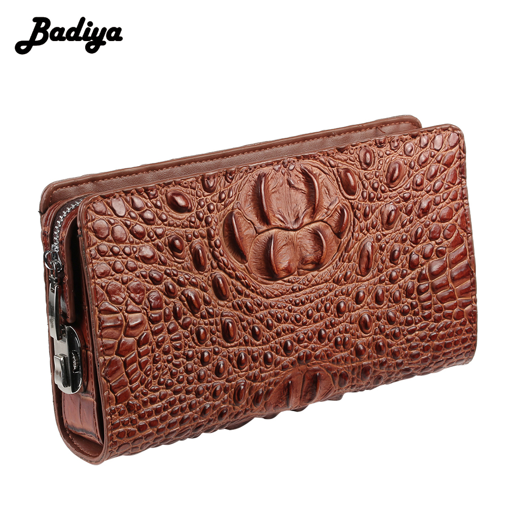 Genuine Leather Crocodile RFID Blocking Wallet Mens Anti-Theft Zip-Closure Clutch Bag Men Long Wallets Coin Purse Card Holders