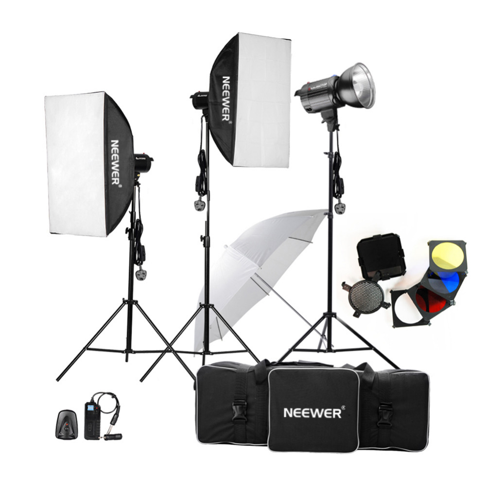Neewer 900W 300W x 3 Professional Photography Studio Flash Strobe Light Lighting Kit for Portrait Photography Studio Video Shoot
