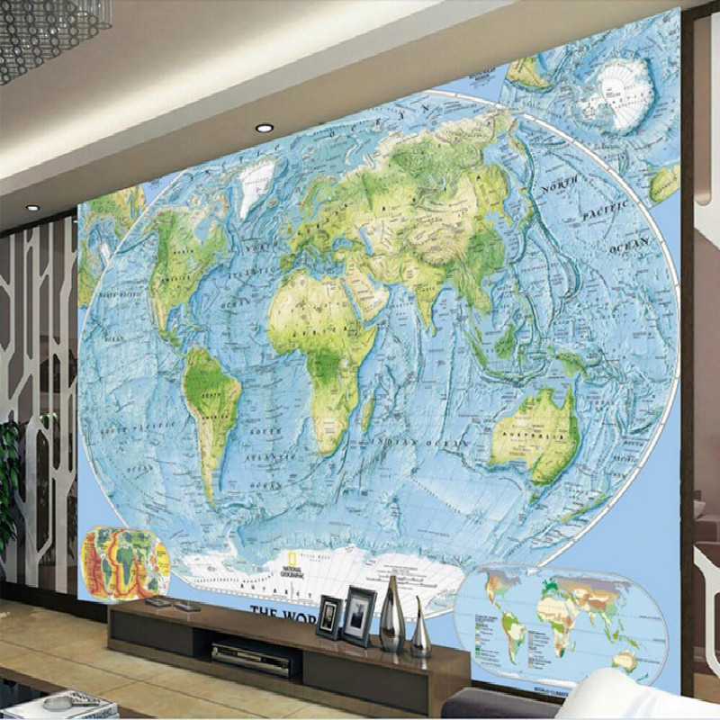 Custom decorative painting 3D wallpaper backdrop map ocean world map ocean plate large mural 3D wallpaper