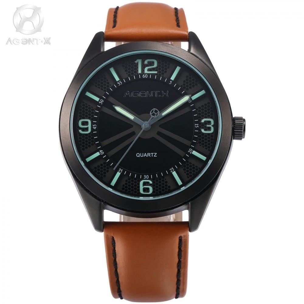 agentx montre homme marque de luxe clock black dial brown leather strap green number men quartz