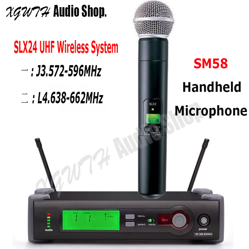 SLX SLX24 SM58 UHF Wireless Microphone System SM 58 Cordless Super Cardioid Dynamic Handheld Karaoke Mic for Shure Karaoke DJ