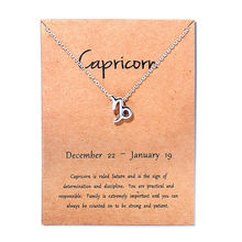 12 Constellation Silver Capricorn Taurus Libra Message Card Jewelry Pendant Necklace Necklaces For Women Birthday Gift