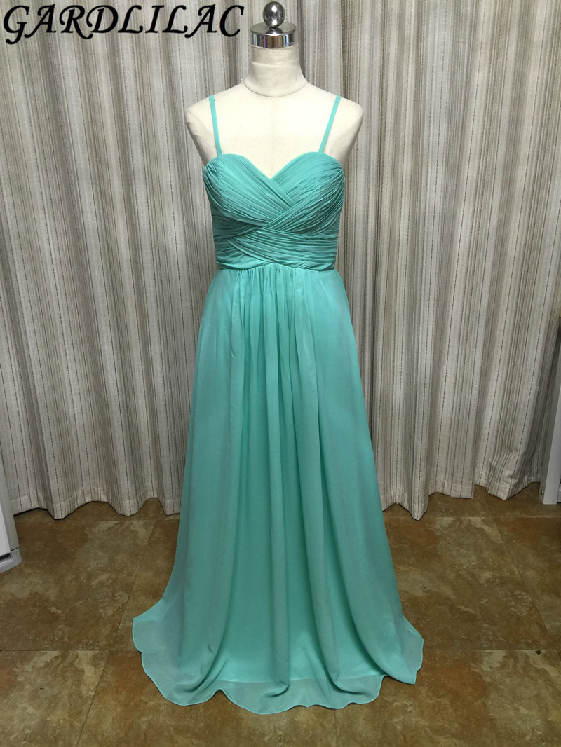 Gardlilac Chiffon Spaghetti Straps Green Long Bridesmaid Dress Floor ...