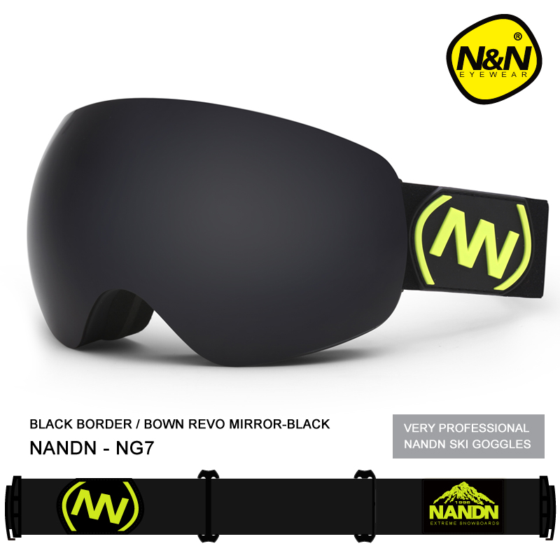 Brand NANDN Professional Ski Goggles 2 Double Lens Anti-fog Big Spherical Skiing Glasses Men Women Snow Goggles free customs taxes high quality 48 v li ion battery pack with 2a charger and 20a bms for 48v 15ah 700w lithium battery pack