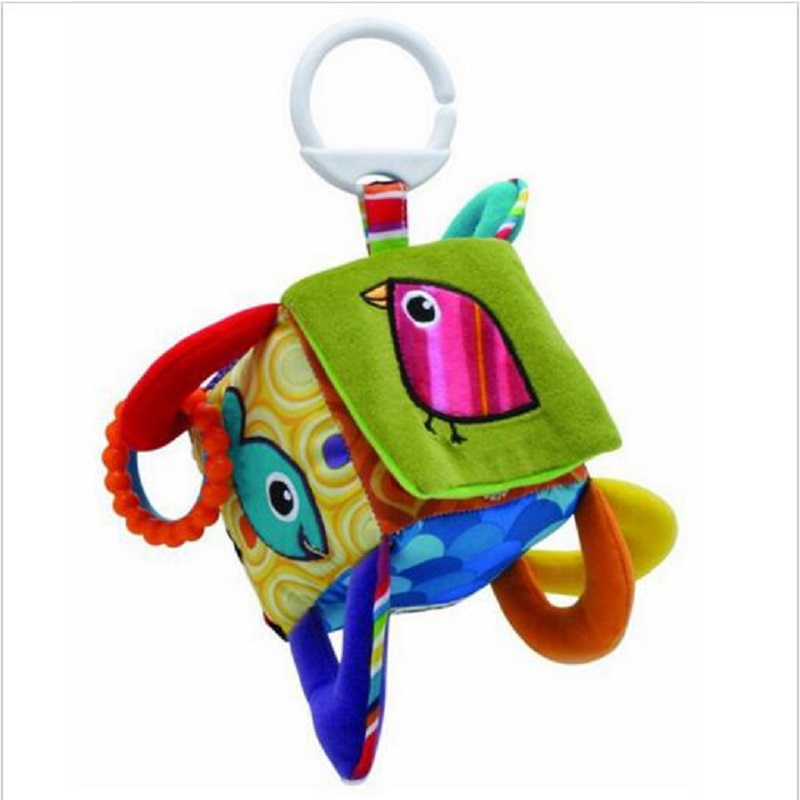 Plush Russian And English Style Baby Musical Crib Mobiles Bird Square Plush Toys Baby Block Educational Toy Baby LatheRattle