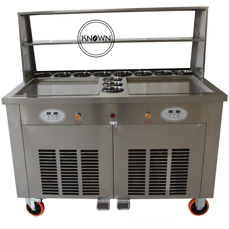 Duplo grande praça panelas com 11 tanques de aço inoxidável fried ice cream máquina de rolo com CE certificado (Livre o transporte por via marítima)