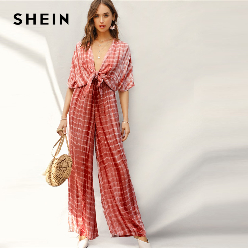 SHEIN Rust Plunging Neck Knot Front Tie Dye Palazzo Jumpsuit Spring Deep V Neck Solid High Waist Maxi  Wide Leg Jumpsuits 1