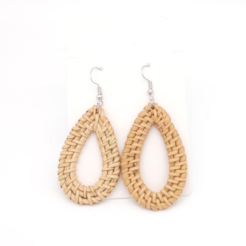 Bohemian Wicker Rattan Knit Pendant Earrings Handmade Wood Vine Weave Geometry Round Statement Long Earrings for Women Jewelry 19