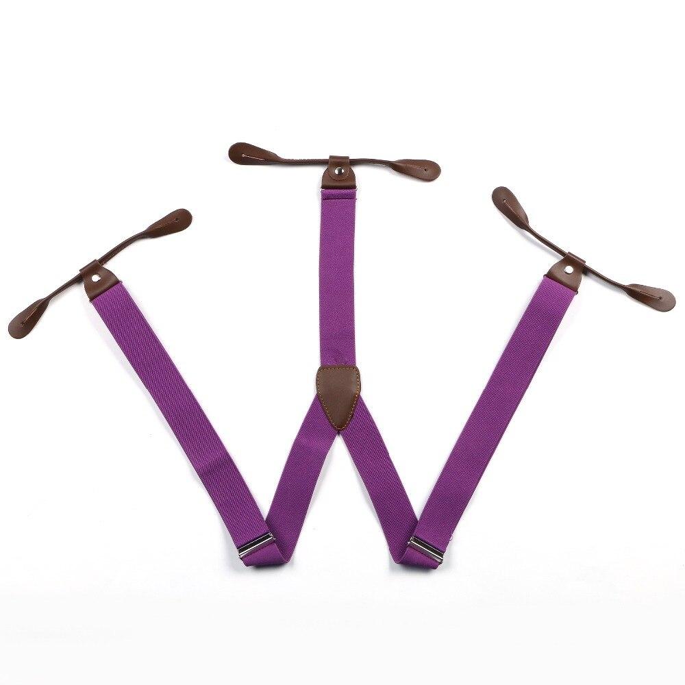 Новые подтяжки унисекс подтяжки регулируемые кожаные фитинги шесть пуговиц отверстия Твердые Светло фиолетовый BD702
