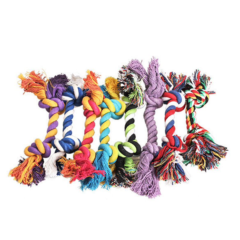 1 pcs Pets dogs pet supplies Pet Dog Puppy Cotton Chew Knot Toy Durable Braided Bone Rope 15CM Funny Tool (Random Color ) 2
