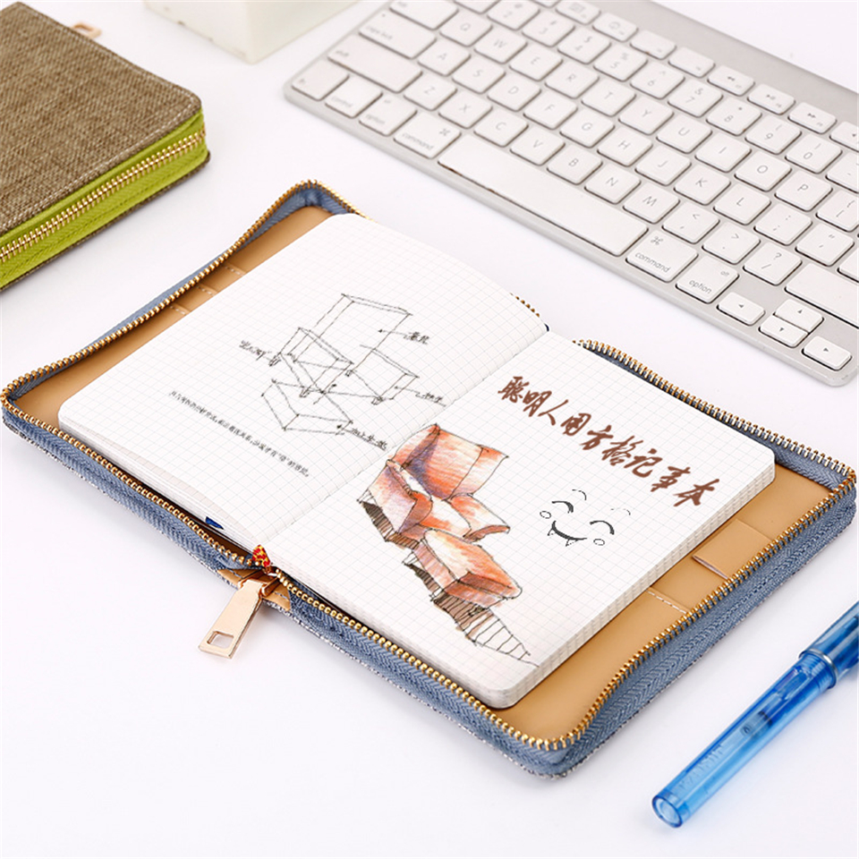 64K Zipper Vintage Notebook Dokibook Planner Grid Paper Cloth Kawaii Mini Diary Plan Note Book Agenda School Office цена