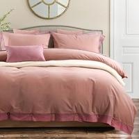 100 Cotton Sanded Carmine 4 Piece Simple Home Theme Duvet Cover Set With 1 Flat Sheet