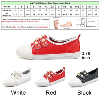 ANNYMOLI Shoes Women Flats Rivets Flat Shoes Round Toe Pearls Loafers 2018 Spring Casual School Shoes Red White chaussures femme 10