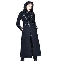 Devil Fashion Steampunk Women High Collar Wizard Hat Long Sleeve Coats Punk Halloween Dark Casual Slim Fit Overcoats