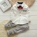 Children's wear in spring suit Baby the new cotton Tie shirt boy suit 0-1-2-3 tide