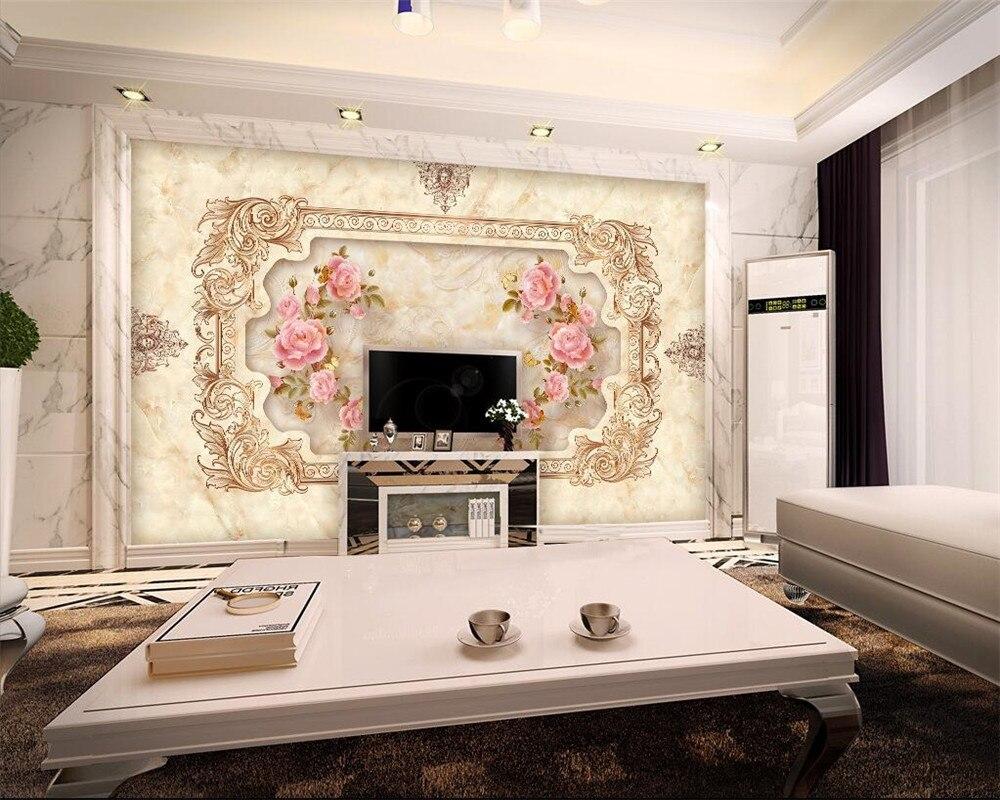 Beibehang M Rmore Rosa Arte Mural 3d Papel De Parede Sala De Estar  -> Mural Parede Sala
