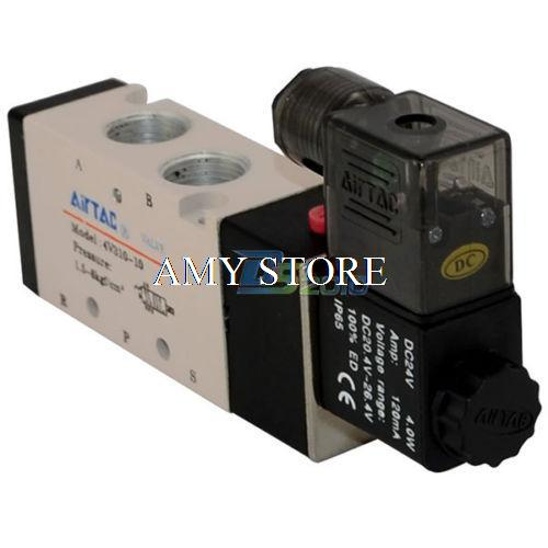 4V310-10 3/8 BSP DC 12V/24V AC 24V/36V/110V/220V/380V 5 way 2 position Pneumatic Electric Solenoid Valve Air Aluminum 4v220 08 pneumatic valve 12v 24v 110v 220v dc 1 4 2 position 5 way air solenoid valve