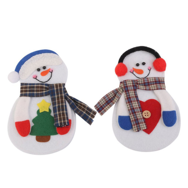 8pcs/set Christmas Decorations Snowman Cutlery Bags