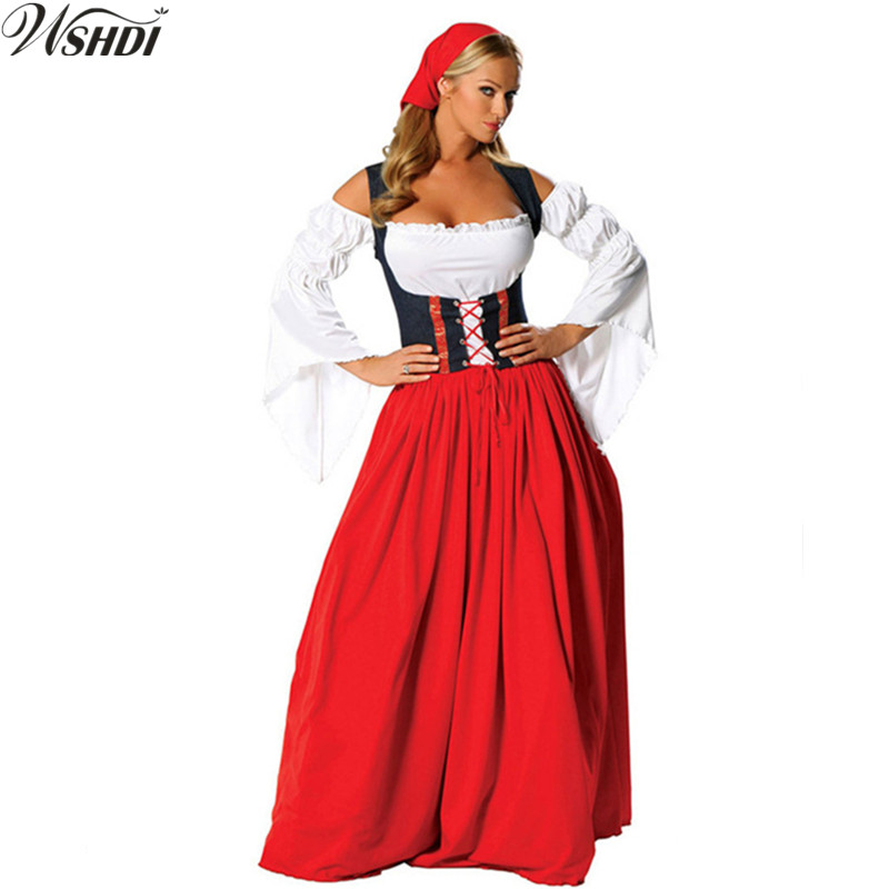Women Oktoberfest Long Dress GermanDirndl Costume Red