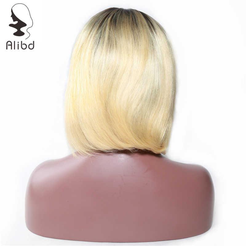 Alibd короткие синтетические волосы на кружеве боб парик бразильский прямые человеческие волосы боб Искусственные парики 1B 613 средняя часть...