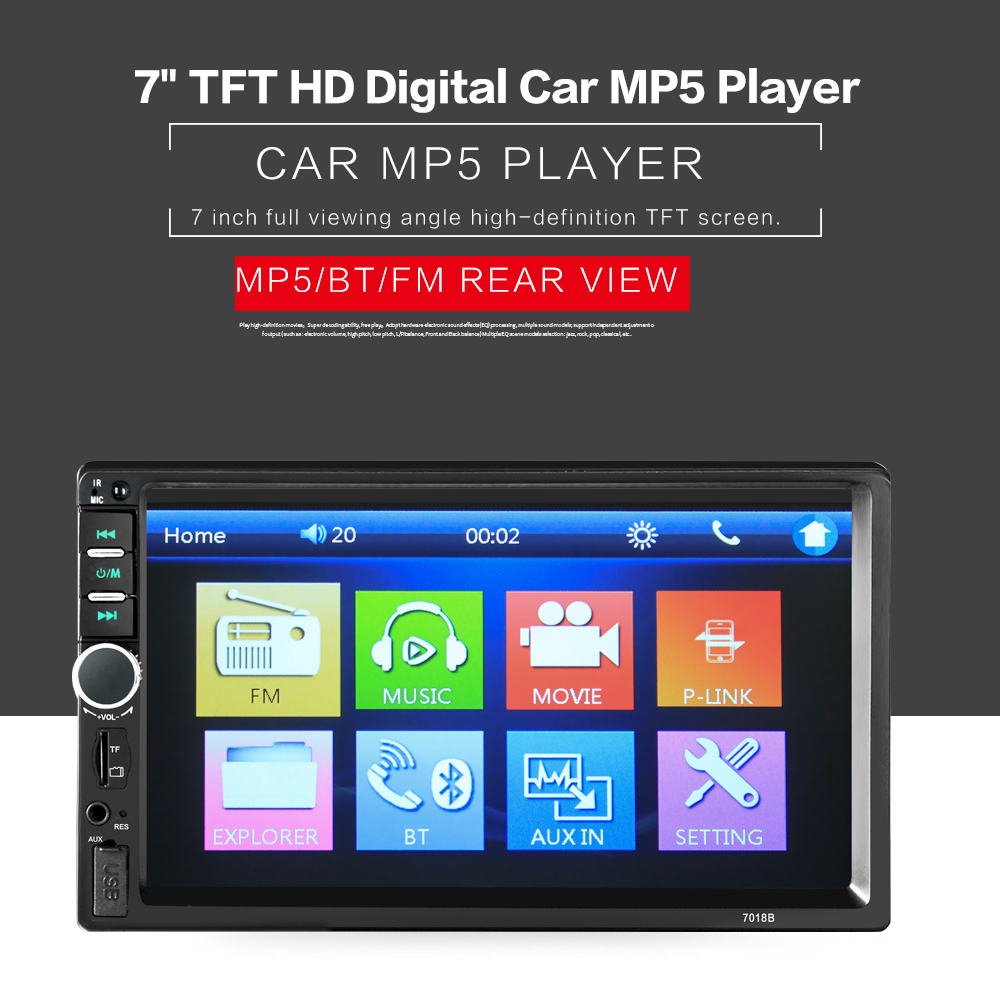 2019 2 Din 7'' inch LCD Touch screen car radio player support bluetooth rear view camera car audio autoradio Universal for Cars image
