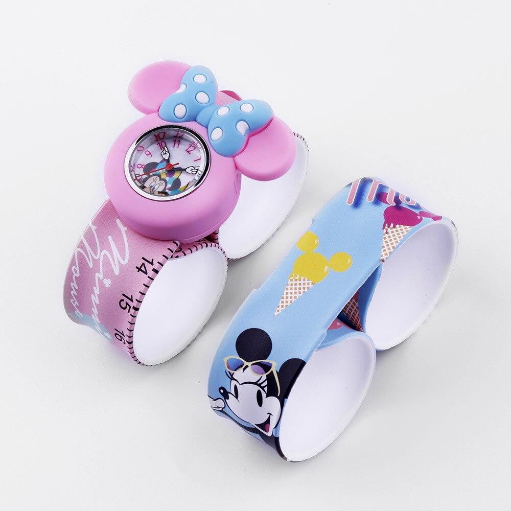 Girls Watch Quartz Children Wristwatches Disney Brand Mickey Mouse Frozen Child Cartoon Watches Waterproof Bow Random Color
