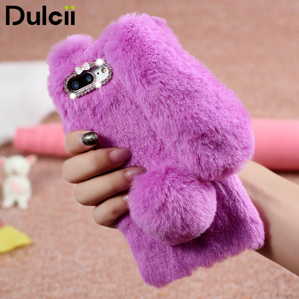 Dulcii for iPhone7 Plus 5.5 inch Phone Cover Rabbit Warm Fur TPU Cellphone Back Casing for iPhone 7 Plus 5.5 inch Phone Case ...