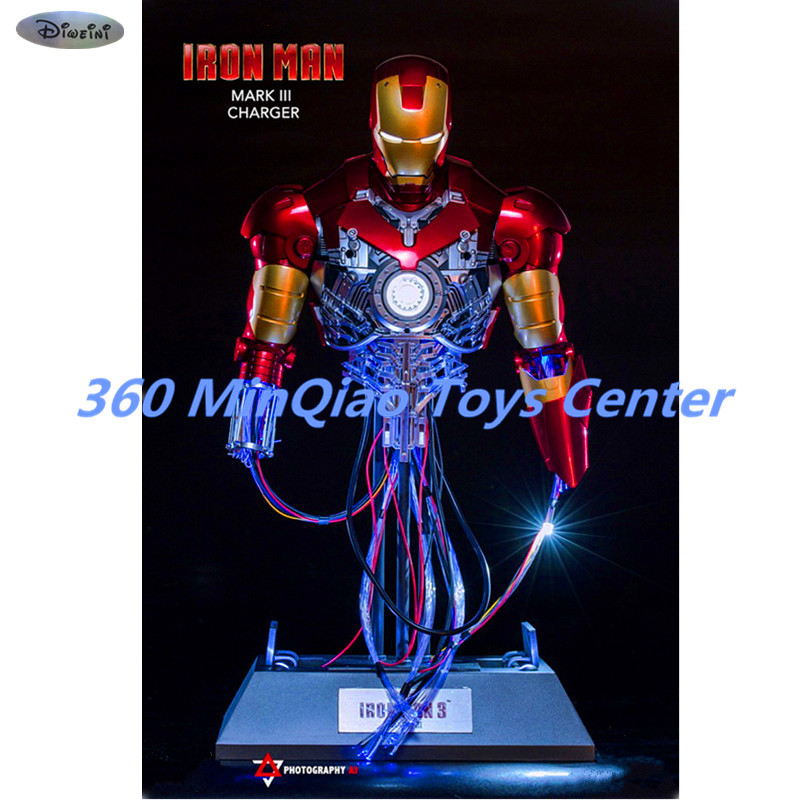 Iron Man 1:4 Charging Version Of The Statue Maintenance Version Bust MK3 Venue Version Half-Length Photo Or Portrait WU808 statue avengers captain america 3 civil war iron man tony stark 1 2 bust mk33 half length photo or portrait with led light w216
