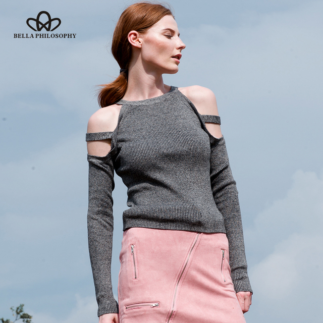 8b99c268c48 Bella Philosophy 2018 women autumn sweater tops winter halter cold shoulder  knitted sweater pullover knitted women sweater