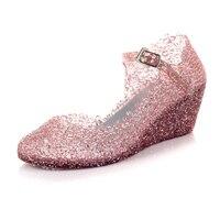 2015 Summer Wedges Women Jelly Sandals Cutout Crystal Plastic Flower Sandals Hole Shoes Girls Transparent Shoes