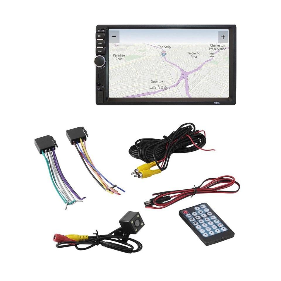 Touch HD Bluetooth Tela 7 polegada No Traço DVD 12 v 2 Din FM Função de Rádio Estéreo Do Carro USB AUX MP3 MP5 Suporte Ao Jogador TF woth câmera